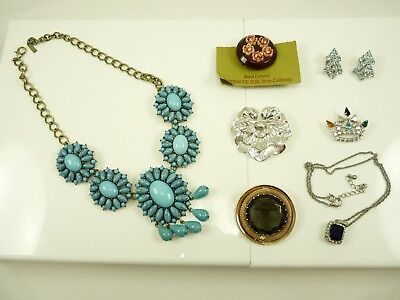 Nice Mixed Lot of Vintage Estate Jewelry Necklaces Brooches Clip Earring