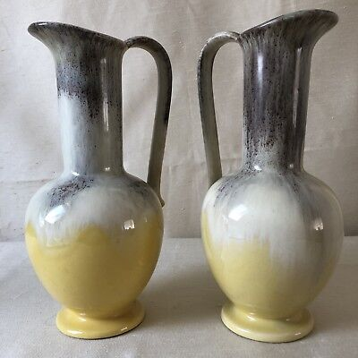 PAIR Vintage Retro JUG EWER PITCHER Vase Art Pottery Europe marked 639/3 Foreign