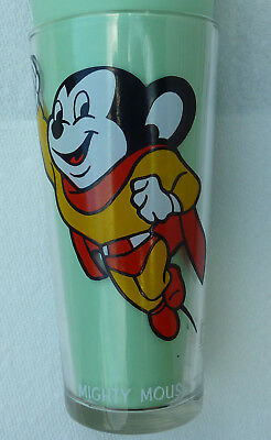 1977 Terrytoons 16 oz Pepsi Glass Mighty Mouse White Letters Rare