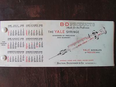 1938 Becton Dickinson Medical Syringe Needles Advertising Ink Blotter Calendar