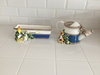 Charming Tails Ceramic/Porcelain Watering Can and Herb Planter NIB