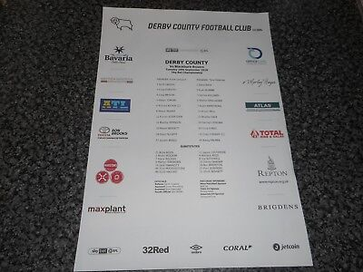 DERBY COUNTY  v  BLACKBURN ROVERS   2018/19  SEPT 18th   ***COLOUR TEAM SHEET***