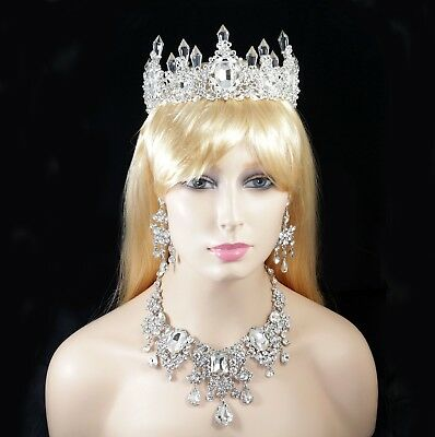 Queen Floral Austrian Rhinestone Tiara Crown Necklace Earring Set Bridal Prom T7