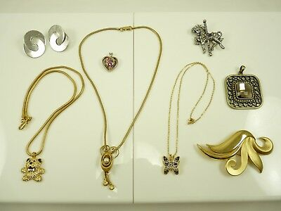 Nice Mixed Lot of Vintage Estate Jewelry Necklaces Brooches Clip Earring #3