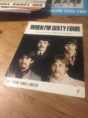 THE BEATLES - When I'm Sixty Four - 1967 Original 4 Page Sheet Music with Words