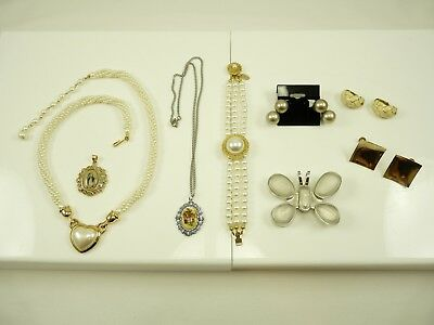 Nice Mixed Lot of Vintage Estate Jewelry Necklaces Bracelet Clip Earring #4