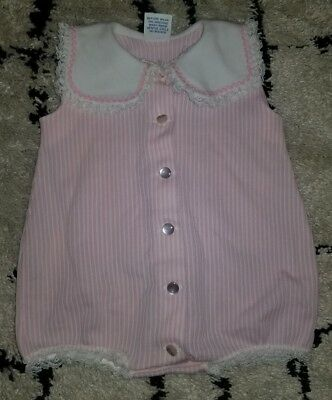 Vintage 1980's 6 months romper white pink striped lace one piece 6-12 collar