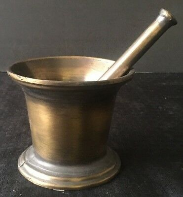 Vintage Antique Apothecary Pharmacy Doctor's Bronze Mortar & Pestle Free S&h