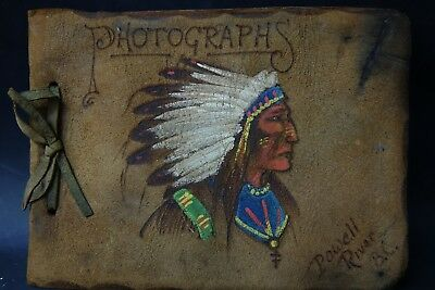 Very Old Hand Painted Native American Indian Photograph Album Powell River B.c.