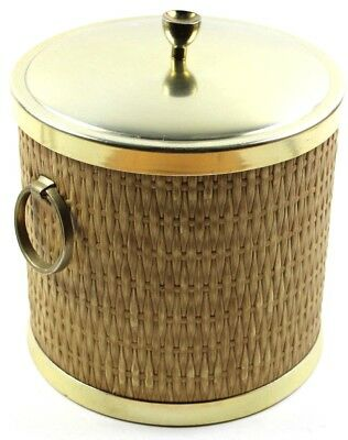Vtg Kraftware Nyc Woven Detail And Brass Mid Century Ice Bucket Vintage