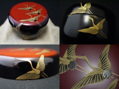 Japan Lacquer Wooden Tea caddy CRANES fly away at SUNRISE makie Hira-Natsume 806