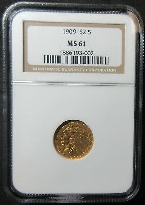 1909 $2.50 Indian Head Quarter Eagle Gold Coin - Ngc Ms 61