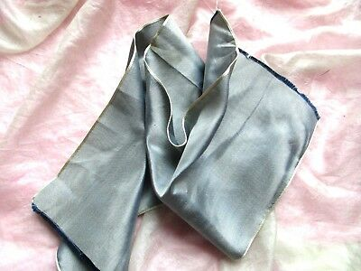 Antique Iridescent Silk Taffeta Ribbon Sample Trim Silvery Blue