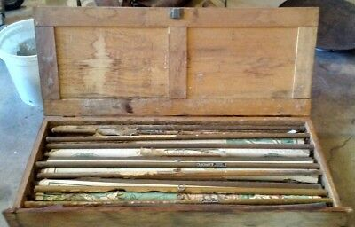 7 Vintage Early 1900 Pull Down School Maps with Oak Case, Rare World Map