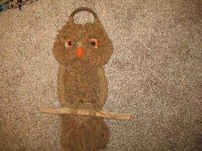 "Vintage Macrame 20"" Owl on Wood Branch Log. Large Beads. Nice."
