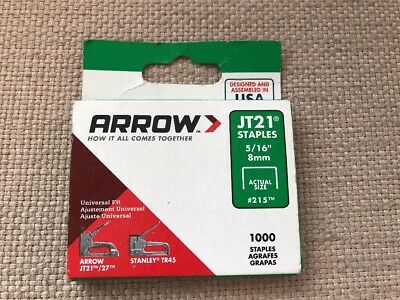 """Arrow Staples Jt21  5/16""""  8Mm  #215  1000 Count Box Made In Usa"""