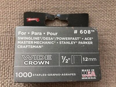 "Arrow Staples  Wide Crown  1/2"" 12Mm  #608  1000 Count Box  Made In Usa"