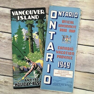 Vintage Vancouver Holiday Resorts Brochure and 1949 Ontario Canada Map