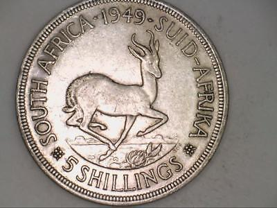 1949 South Africa Five 5 Shillings SILVER (CC3550)