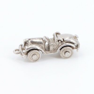 VTG Sterling Silver Antique Car Charm Pendant (wheels spin, trunk opens) - 4.3g