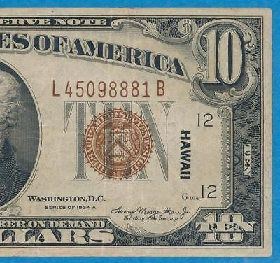 $10.1934-A Hawaii Brown Seal  Federal Reserve Note....  No Reserve