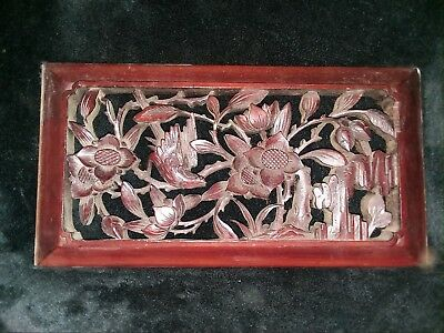 Antique Chinese Carved Wooden Temple Panel with flowers and bird
