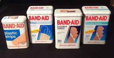 Vintage —Lot Of 4—BAND-AID TINS—-No Rust,Dents, Dings!