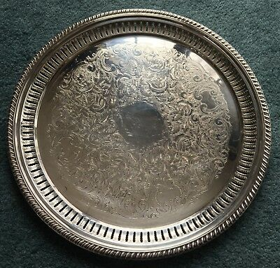 Vintage Sheffield Silver Co USA Silverplate Plate Large Reticulated Serving Tray