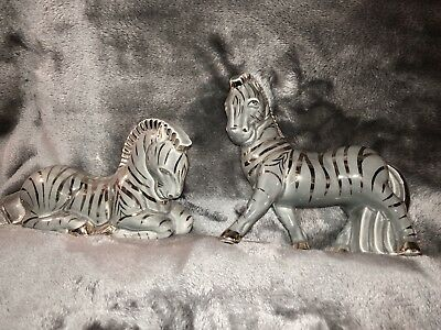 Vintage Mid Century Modern Pair Of Porcelain Zebras-gray and gold