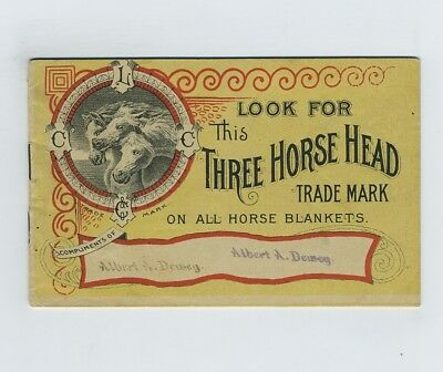 1890 Advertising Trade Booklet Three Head Horse Blankets Chase Boston MA hj4495