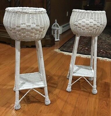 "Vintage White Wicker Rattan Floor Plant Stand Holder With Shelf 28"" Cottage Chic"