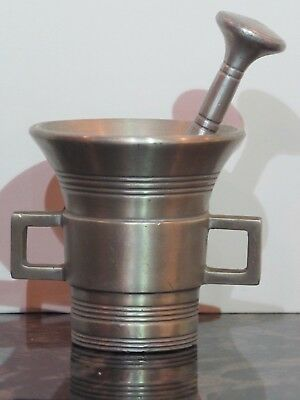 "Vintage Aluminum Small Mortar and Pestle 3"" Tall by Stede"