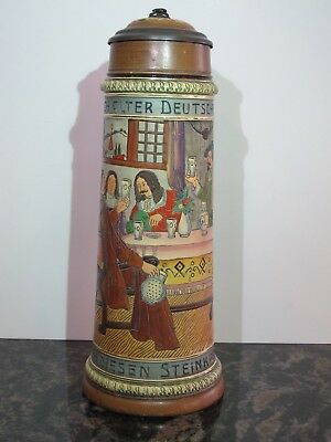 "Antique 2L Etched German Beer Stein with Inlay lid ""Tavern Scene"" Unknown Maker"