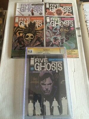 FIVE GHOSTS #1 CGC 9.8 SIGNED BY FRANK J. BARBIERE & CHRIS MOONEYHAM and #2-#5