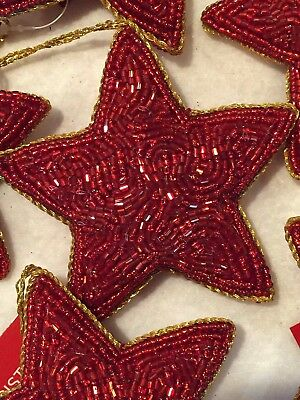 Beaded Star Christmas Ornament Red Gold Holiday Gift Tree Beads gift