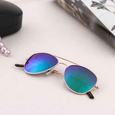 Children Sunglasses Baby Silver Aviator Anti-UV Sunglasses Gold Frame Green Film