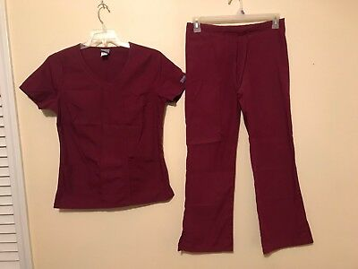 Womens Cherokee Workwear Scrub SZ S Shirt Top & XS Pants Set Outfit Wine