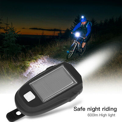 Bicycle Cycling LED Solar Powered USB Rechargeable Front Light Lamp Headlight SD