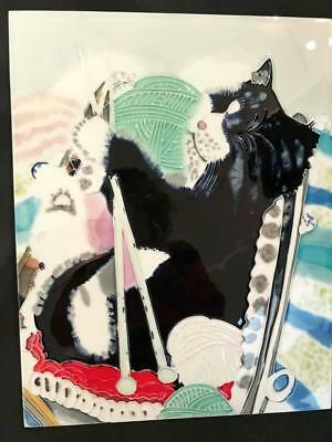 Happy Knitting Cat - Ceramic Tile - 11in x 14in - New From Gallery (T011-023)