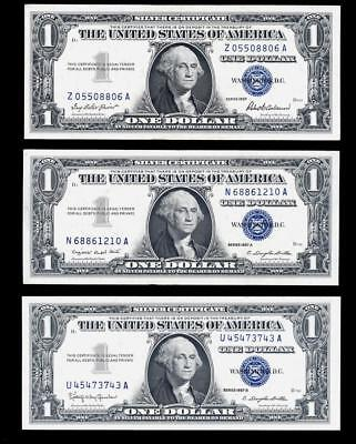 LOT of (3) Silver Certificates Small Size Notes Series 1957, 1957A, 1957B UNC