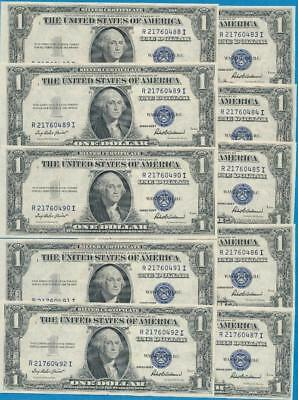 10-$1.00 1935-F  Series Consecutive Blue Seal Silver Certificates Choice New