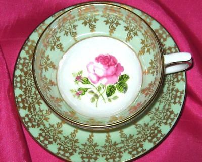 Beautiful Floating Pink Rose & Pistachio Lime Fancy Gold Tea Cup and Saucer