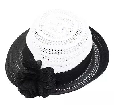 68288935064fc7 Nine West Packable UPF 50+ Flower Pin Cloche Hat Black White Women's OS New  NWT
