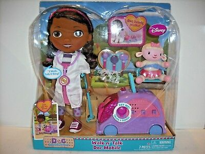 34cde18a420 Disney Brand New Sealed Doc McStuffins Walk N Talk Doll Car Lambie Doctor  Mobile
