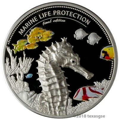 2 Ounce Silver Seahorse Marine Life Protection $10 Palau Coin High Relief Proof