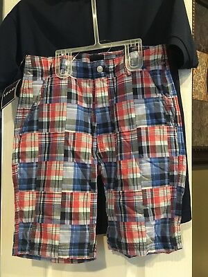 NWT Boys Izod Short Sleeve Performance Polo And Plaid Shorts Outfit (10/12)
