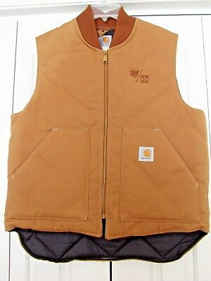 men's Carhartt tan canvas vest large