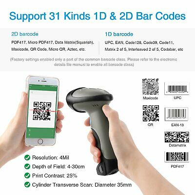 Bluetooth Kabellos 2D Strichcode Scanner 1D 2D QR Bar Code Leser Matrix Maxikode