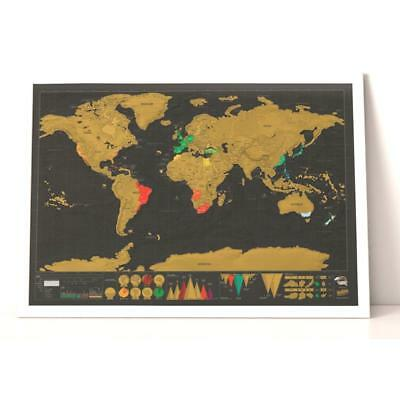 Nomal Scratch Off World Map Deluxe Edition Travel Log Journal Poster Wall Decor