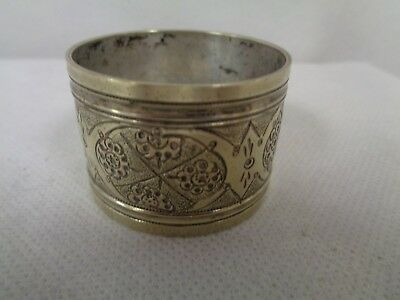 Antique Silver Napkins Ring Patterned  - No Hall Mark - Could Be Foreign (Ew)